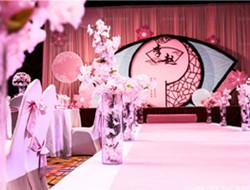 桃花色复古室内婚礼 粉色婚礼