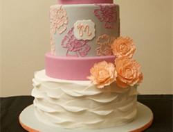 婚礼蛋糕上的浪漫蛋糕