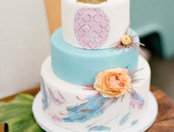漂亮的蓝色婚礼蛋糕图片