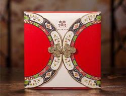 复古中式婚礼请帖 大红喜庆