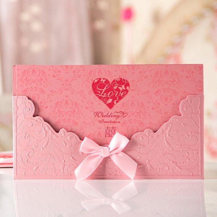 红嫁衣 结婚请帖 婚礼喜帖 中式请柬 创意个性蝴蝶结 定制打印