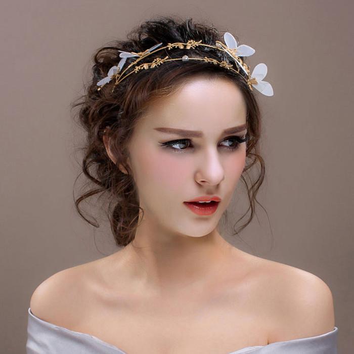 帝凡饰品新娘头饰蜻蜓发箍金色韩式公主皇冠结婚首饰影楼婚纱配饰