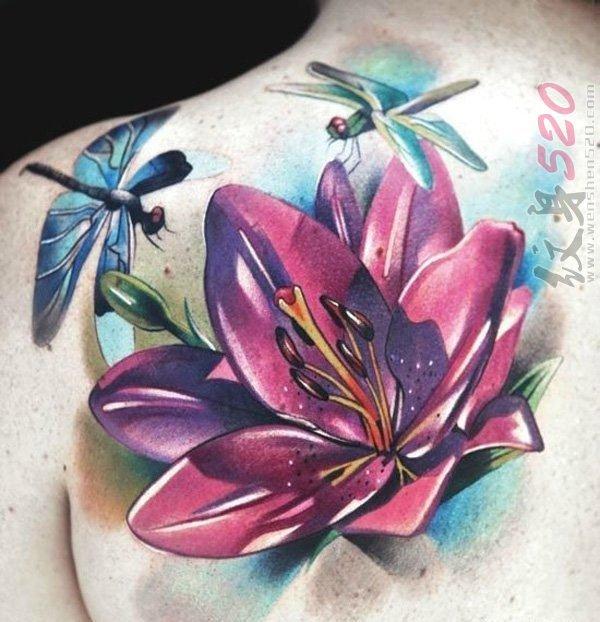 女生都喜爱的文艺小清新唯美花朵纹身图案