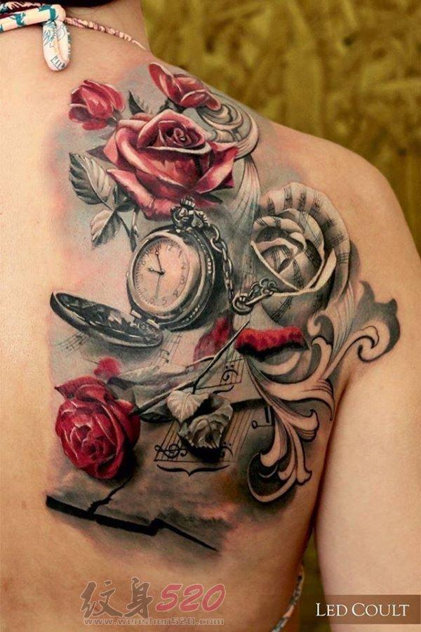 多款关于玫瑰的彩绘水彩文艺小清新唯美花朵纹身图案