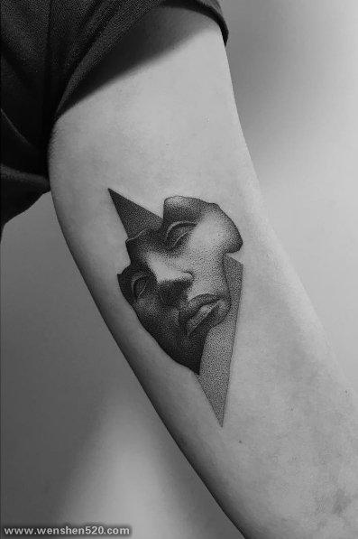多款黑色线条素描点刺创意个性纹身图案