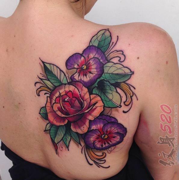 女生都喜爱的彩绘水彩文艺小清新唯美花朵纹身图案