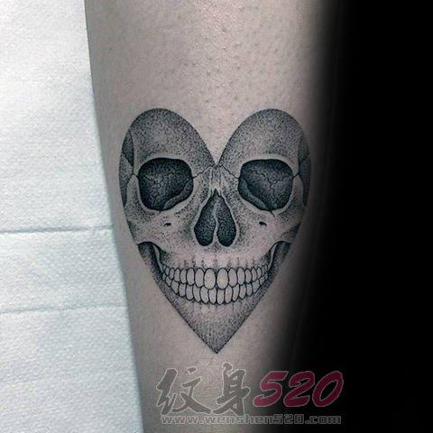 多款关于骷髅头的黑色素描点刺技巧创意个性纹身图案