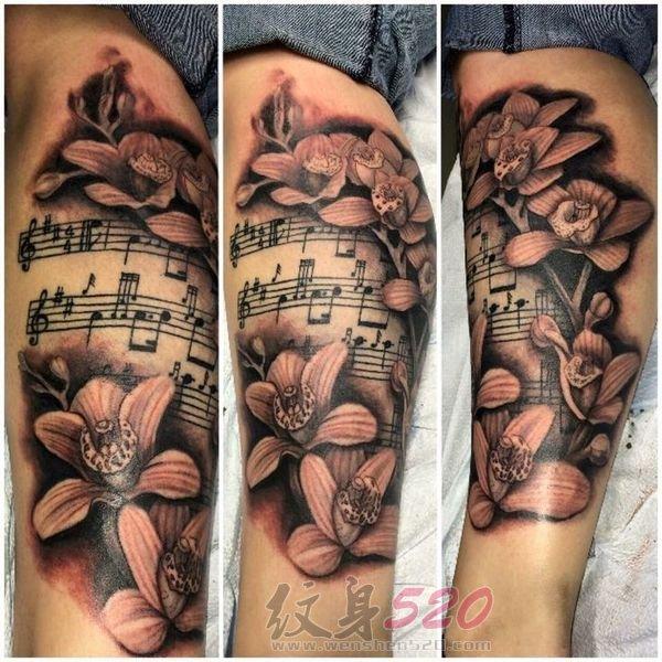 多款关于音符的黑色素描点刺技巧创意个性纹身图案