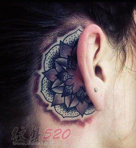 女生耳后创意个性唯美小图案文艺小清新纹身图案