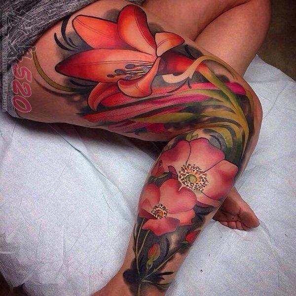 女生腿部彩绘水彩创意个性唯美花朵纹身图片