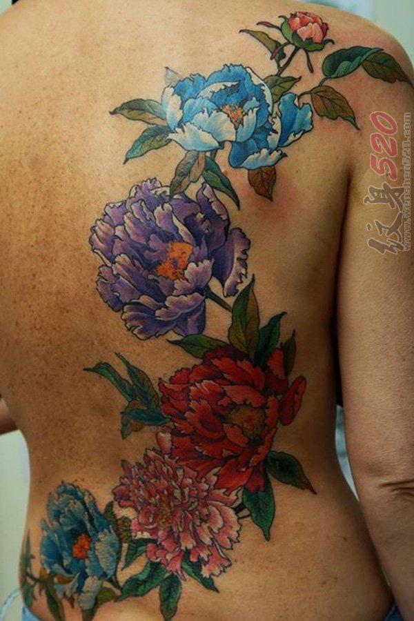 女生背部彩绘水彩创意个性唯美花朵纹身图案