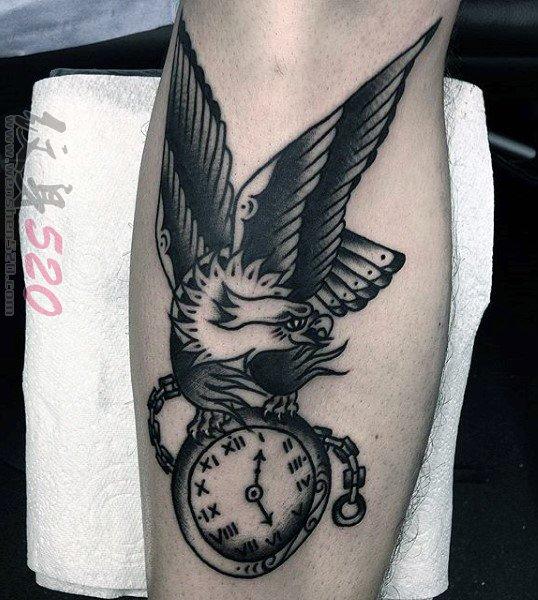多款关于钟表的黑色素描点刺技巧创意个性纹身图案