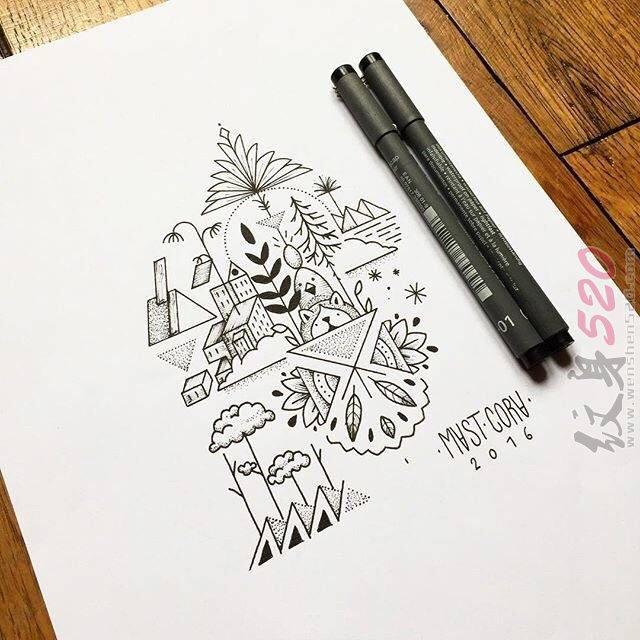黑色线条素描创意个性天空城纹身手稿