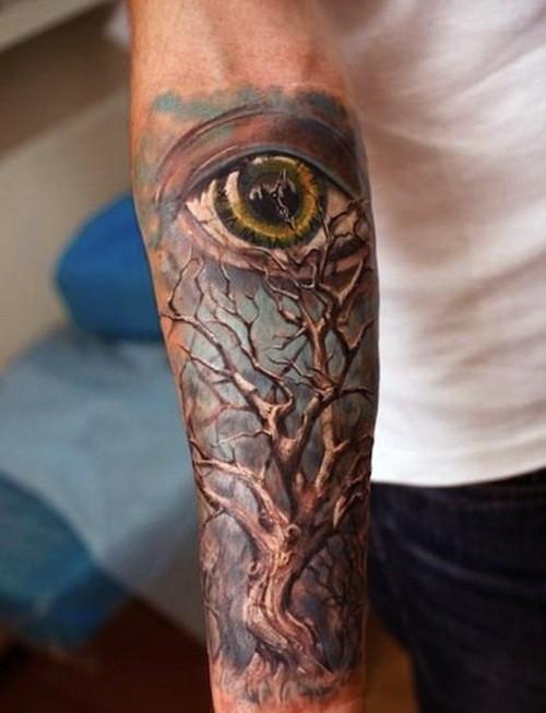 手臂3d彩色孤独的树和眼睛纹身图案