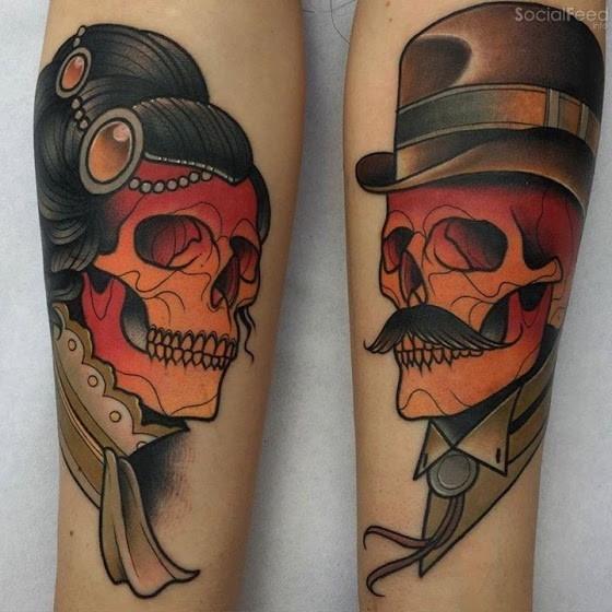 女生纹身 男性纹身         现代风格的彩色骷髅与玫瑰手臂纹身图案