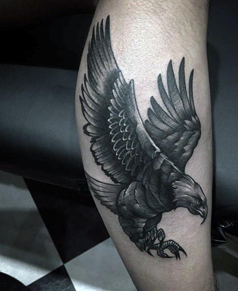首页 其他图片 纹身图片 小腿好看的黑灰老鹰纹身图案  查看原图 标签