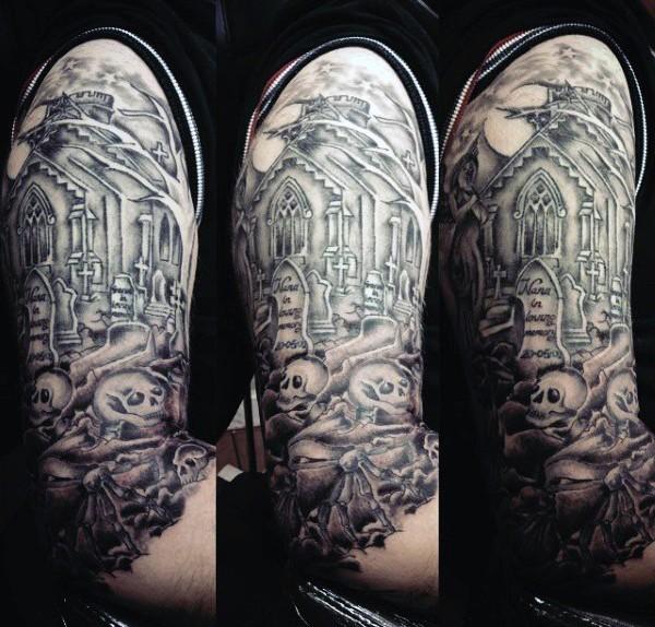 大臂黑灰墓地与旧教堂骷髅纹身图案