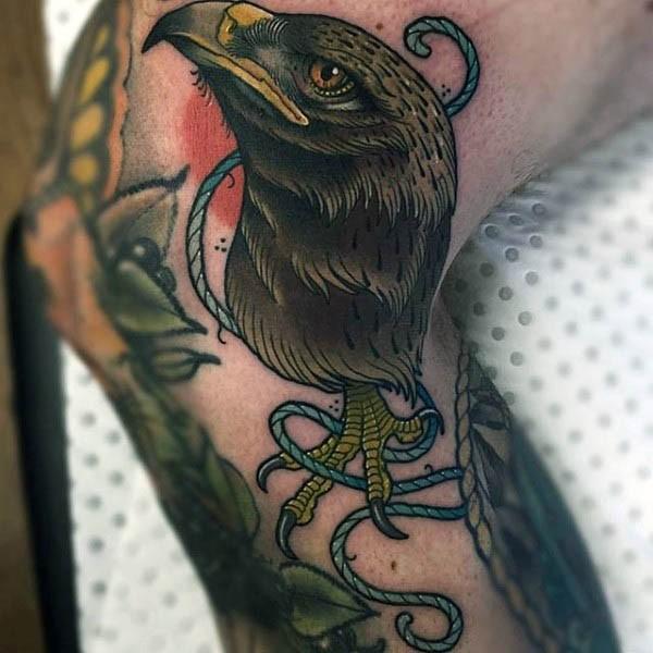 纹身独特v纹身的鹰头椭圆图案绳子cad绘制怎么腿部里面图片