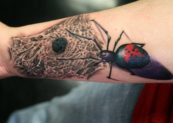 手臂逼真的彩色大蜘蛛与网纹身图案-26abc图片大全图片