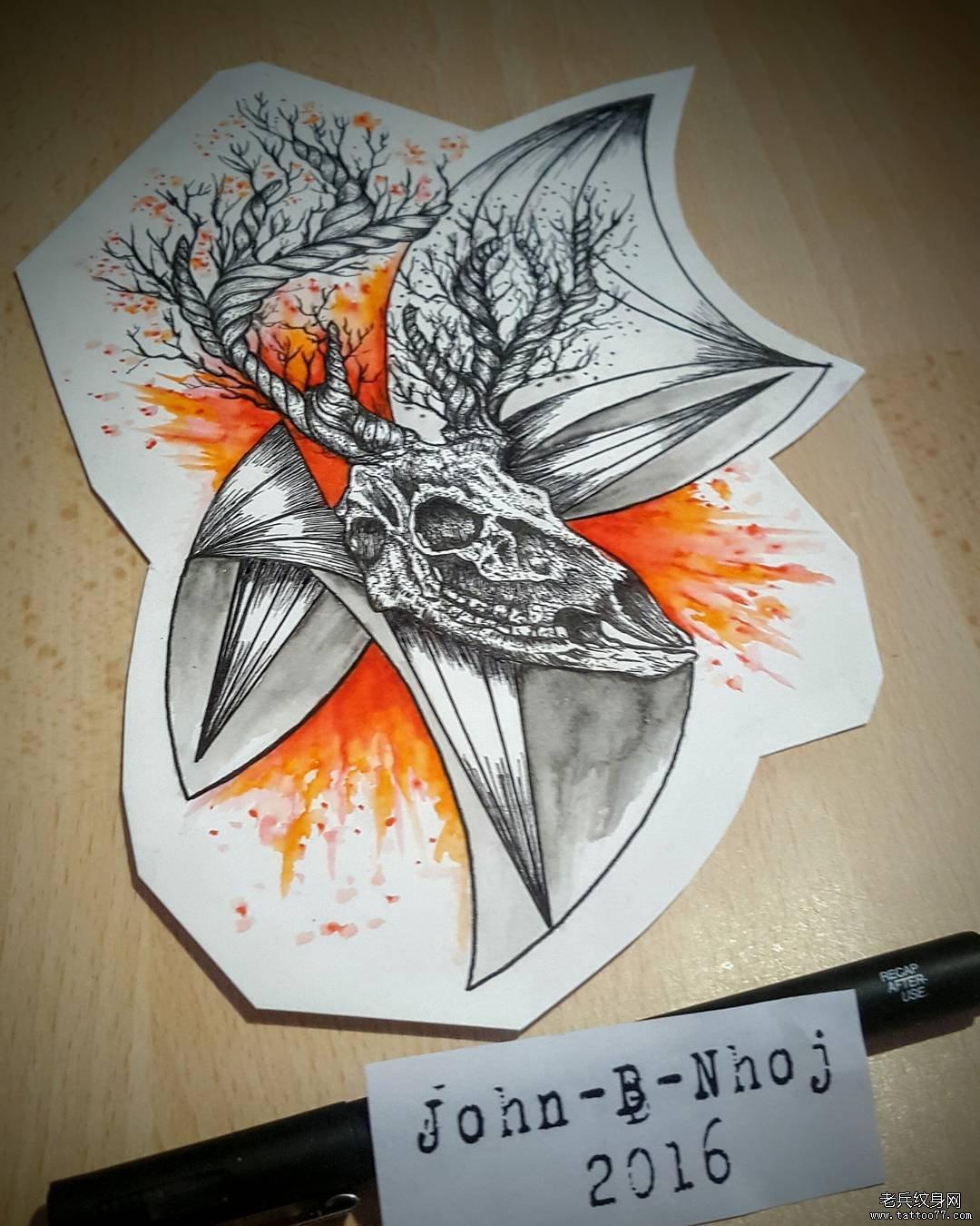 欧美线条点刺骷髅鹿水彩泼墨纹身图案手稿