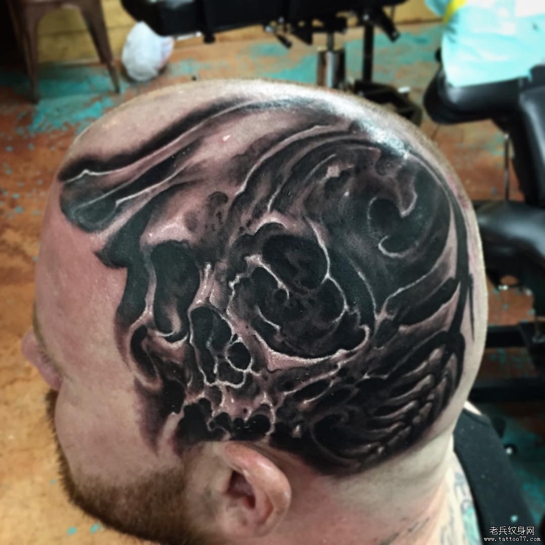 头部个性的欧美骷髅纹身图案