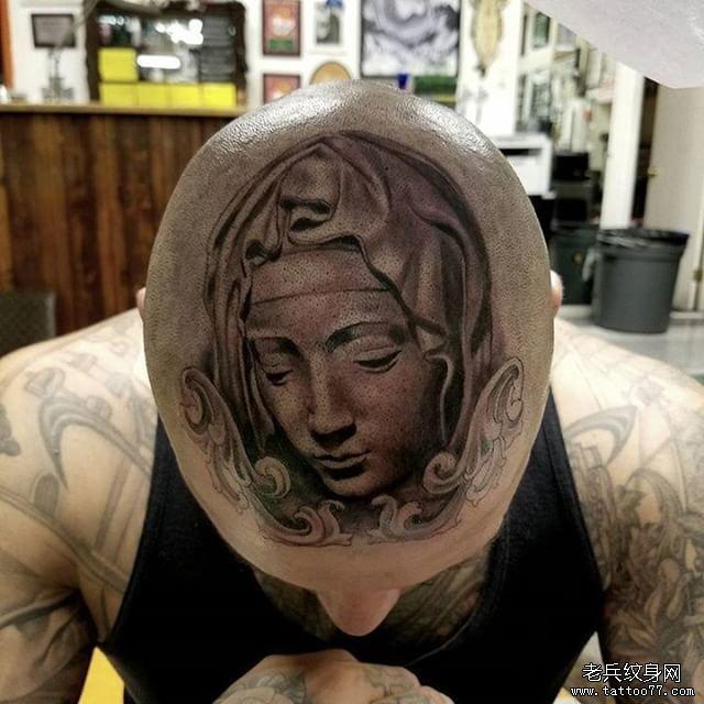 男性头部欧美圣母纹身图案