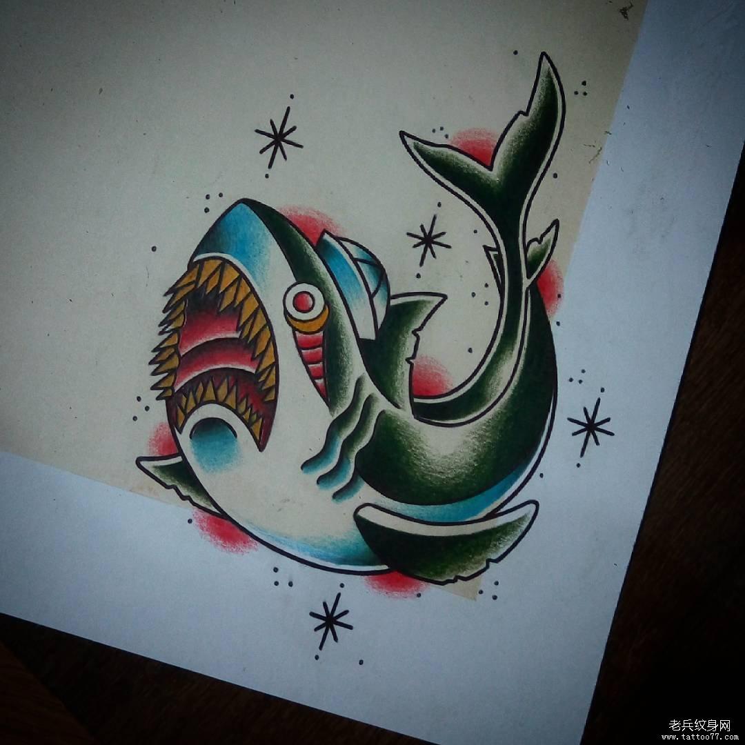 old school彩色鲨鱼纹身图案手稿