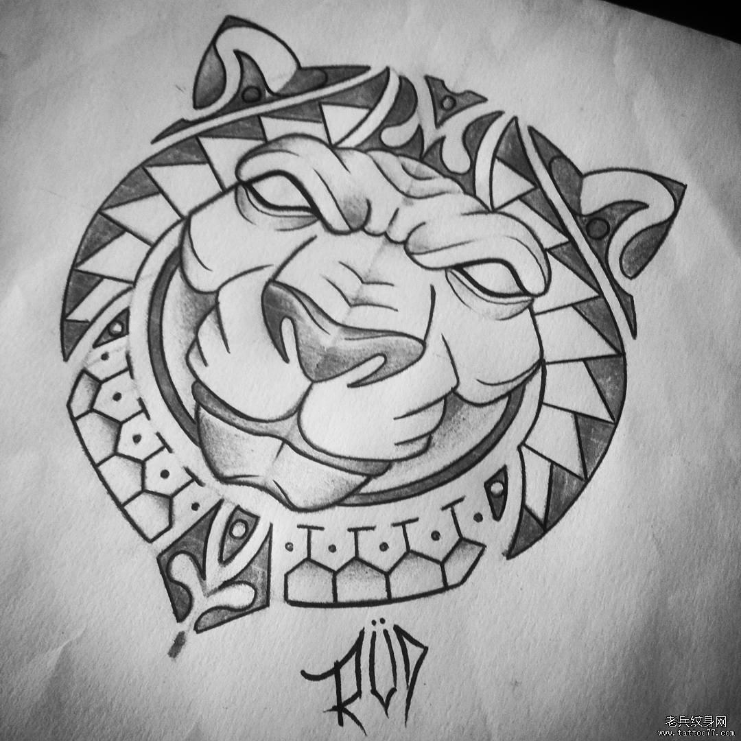 老虎部落风图腾纹身图案手稿