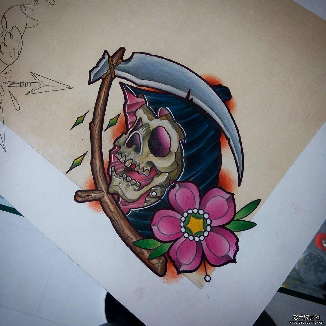 schoo死神花蕊彩色纹身图案手稿