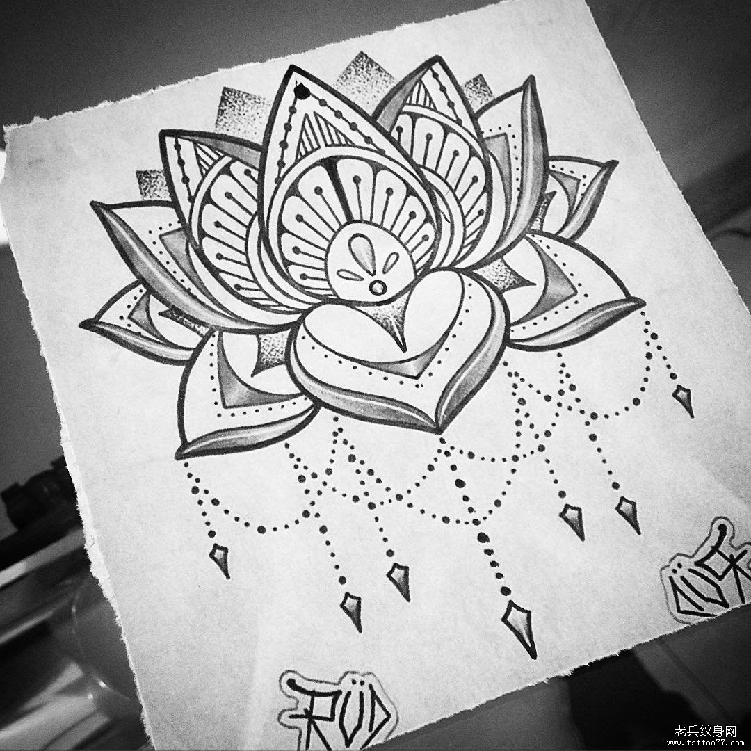 莲花梵花点刺纹身图案手稿