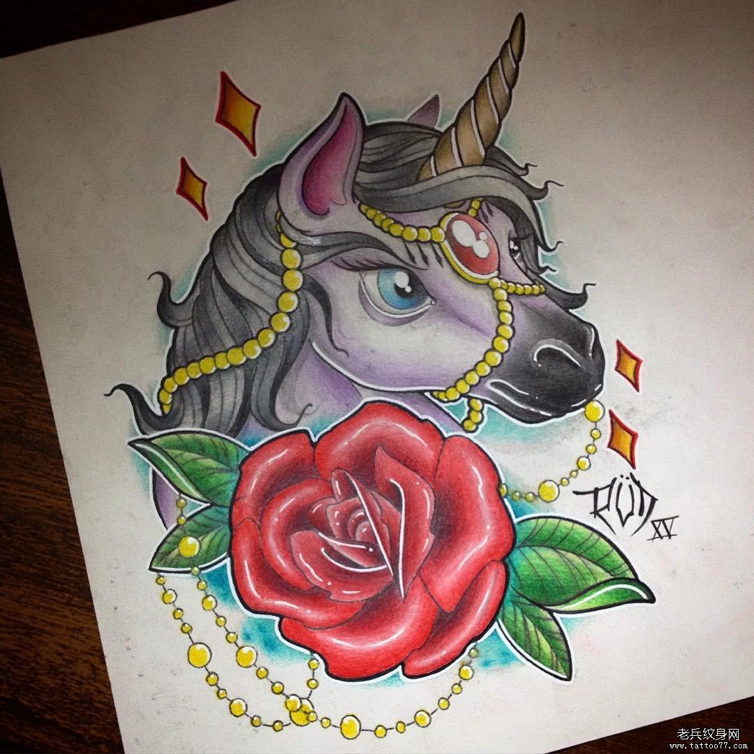school独角兽玫瑰纹身图案手稿