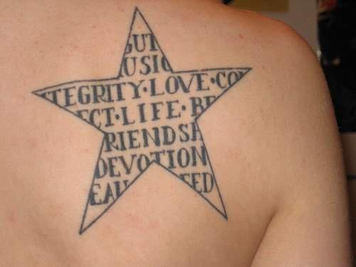 五角星英文纹身图案