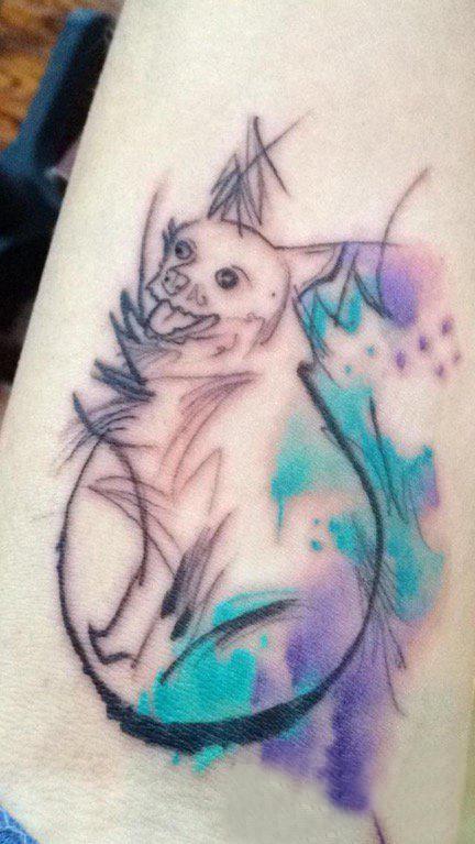 小狗纹身图片 女生大腿上小狗纹身图片