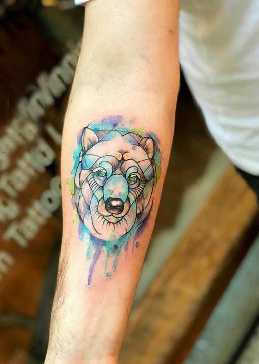 小动物纹身 男生手臂上彩色的小动物纹身图片