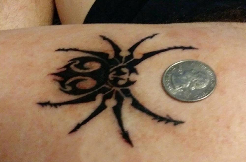 蜘蛛纹身  男生手臂黑色的蜘蛛纹身图片