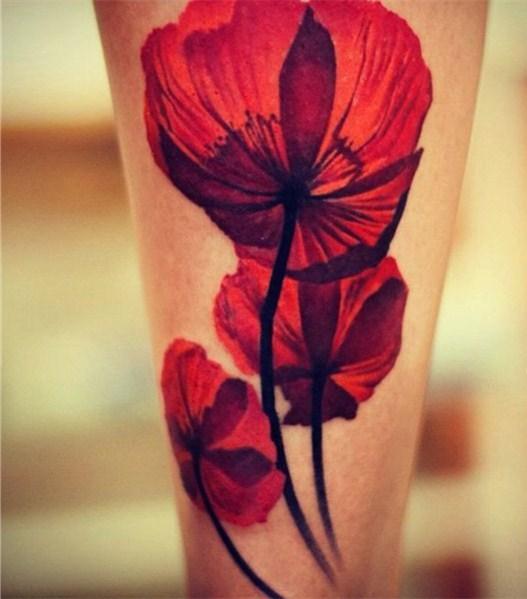 罂粟花纹身图片   鲜丽娇媚的罂粟花纹身图案