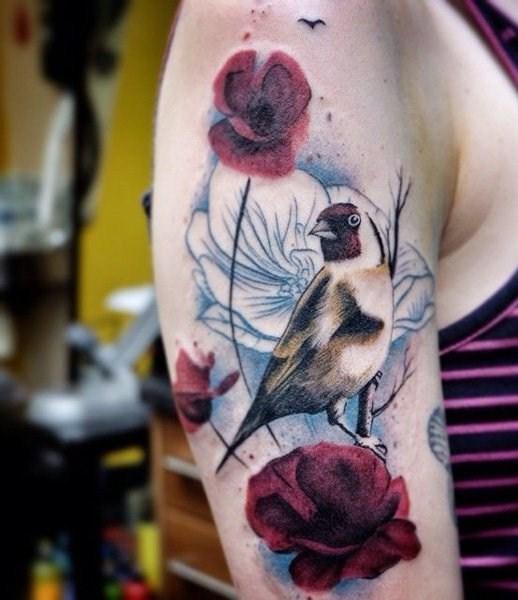 罂粟花纹身图片  娇艳而又迷人的罂粟花纹身图案