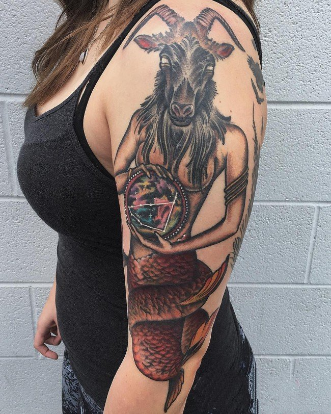 摩羯座纹身图案 形态各异的摩羯座纹身图案图片