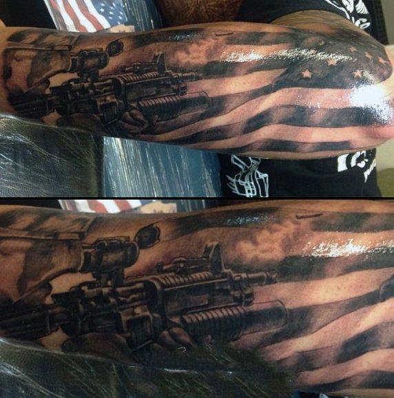 战争题材纹身 冷酷无情的战争题材纹身图案