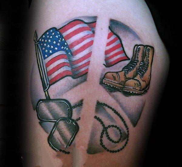 几何和花纹身图案  创意的和平标志纹身图案