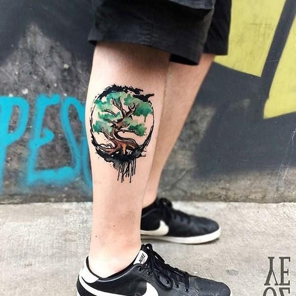 小腿纹身 个性创意的小腿纹身图案
