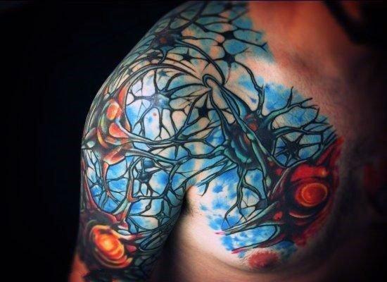 创意纹身图片  别具特色的神经元纹身图案