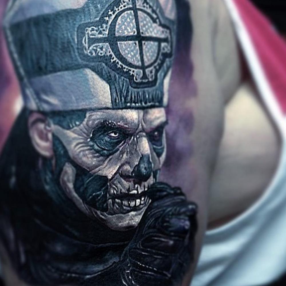 恐怖纹身   多款彩绘和黑白灰风格的恐怖纹身图案