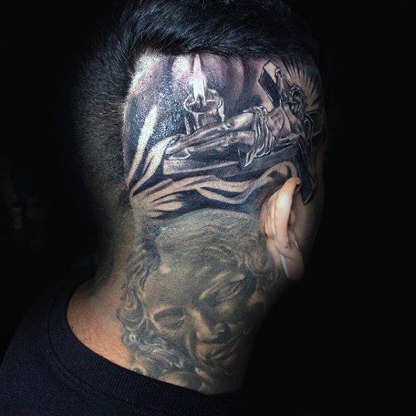 头部纹身图案  个性而又张扬的头部纹身图案