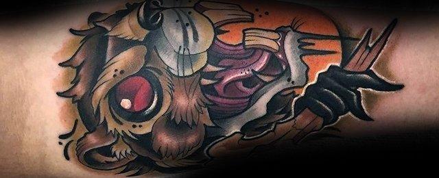 小动物纹身  活泼可爱的海狸纹身图案