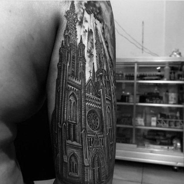 教堂纹身图案   神圣虔诚的教堂纹身图案