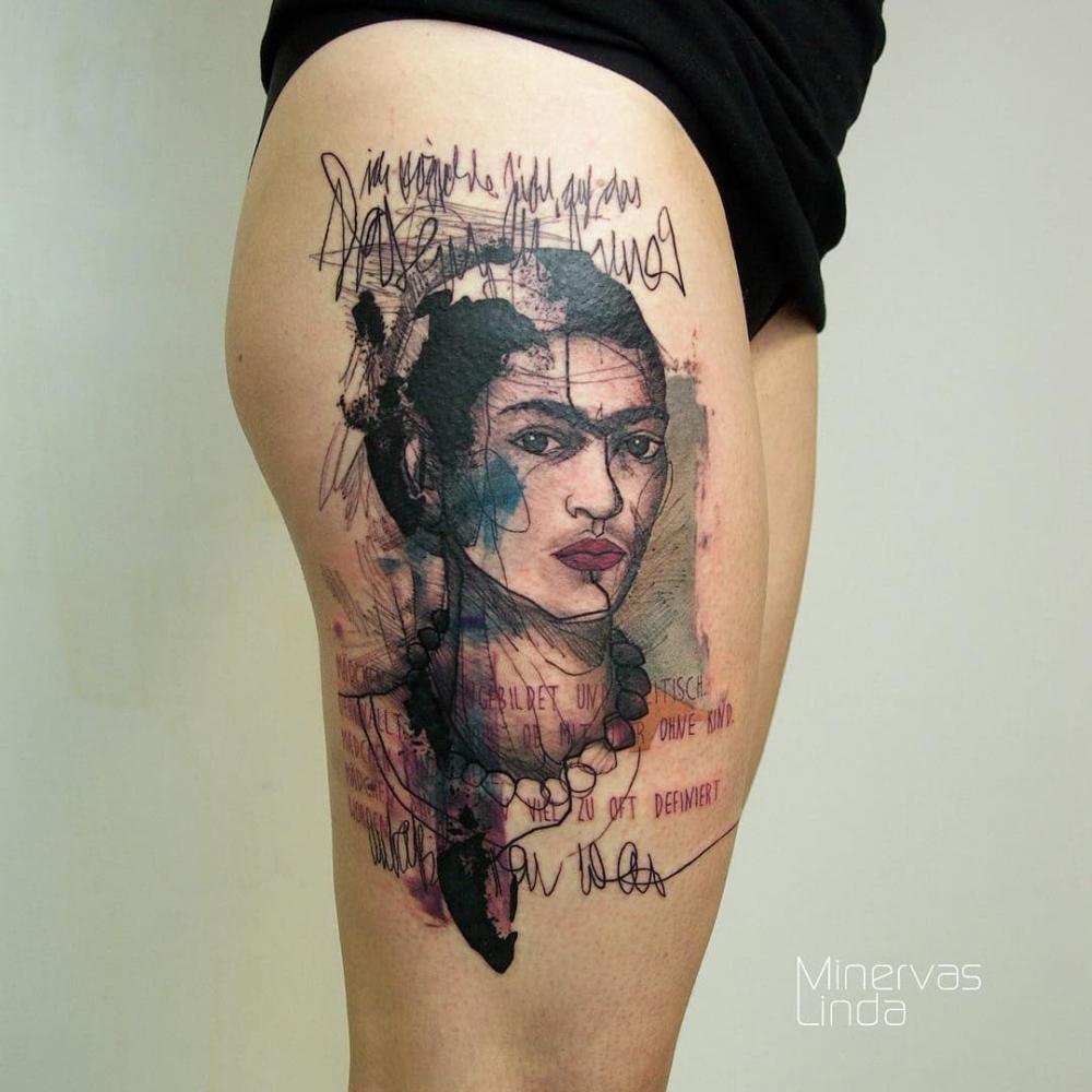 女性头像纹身   身体各个部位的女人肖像头像纹身图案作品