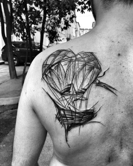 动物线条纹身_9张国外大师的黑灰线条动物纹身图案作品图片