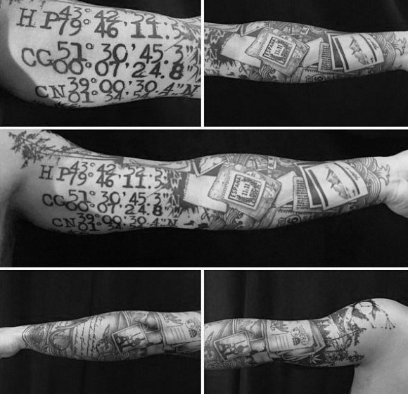 地理坐标纹身_9张关于地理坐标的纹身图案作品图片