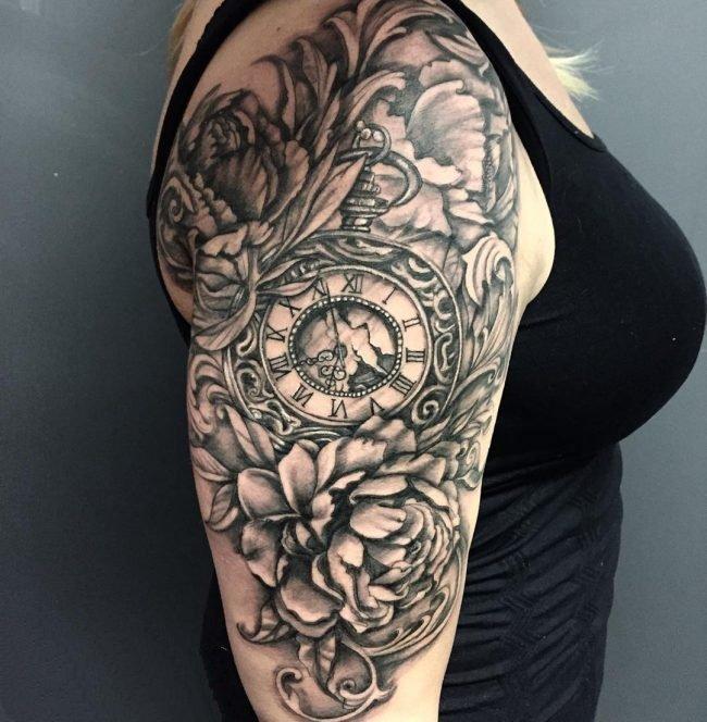 点刺纹身-黑灰素描点刺技巧创意钟表纹身图案图片